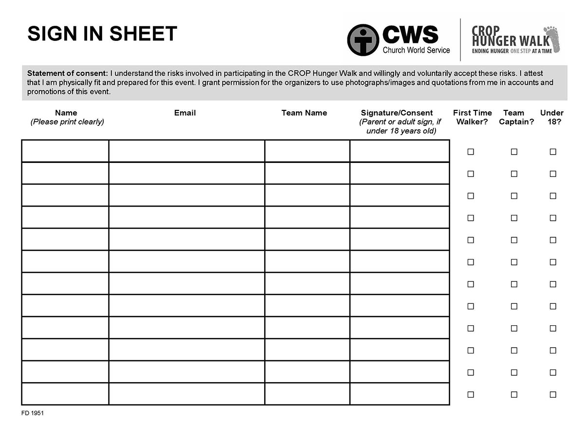 Walk Sign In Sheet